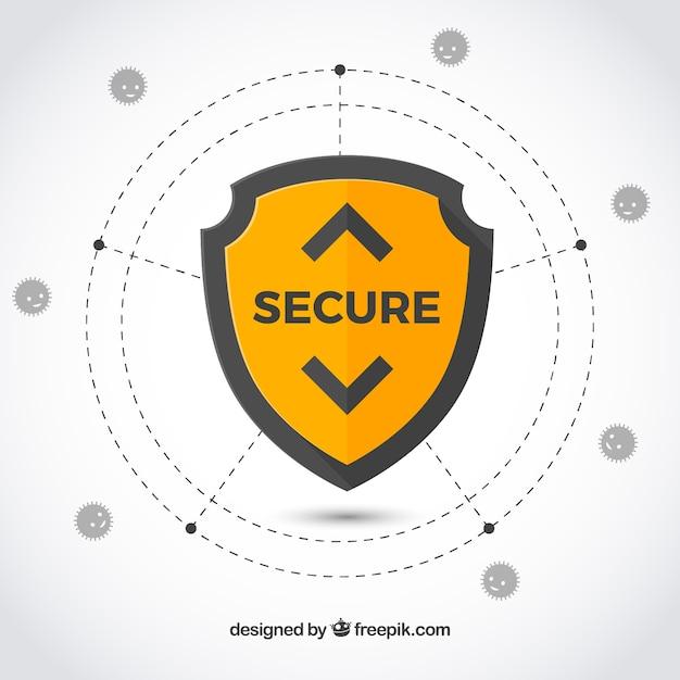 Fondo de seguridad en diseño plano vector gratuito