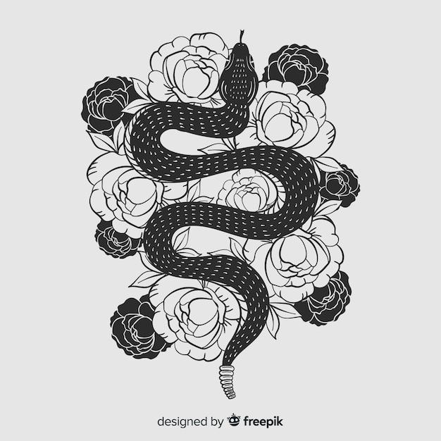 Fondo serpiente sin color dibujada a mano con flores vector gratuito