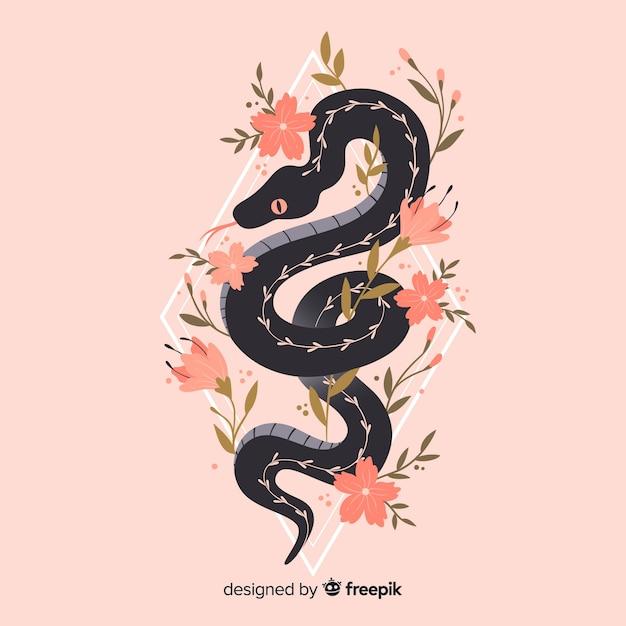 Fondo serpiente con flores vector gratuito