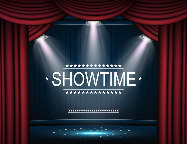 Fondo showtime con cortina iluminada por focos. Vector Premium