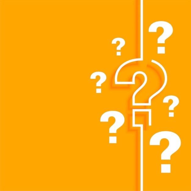 Fondo de signo de interrogación naranja con espacio de texto vector gratuito