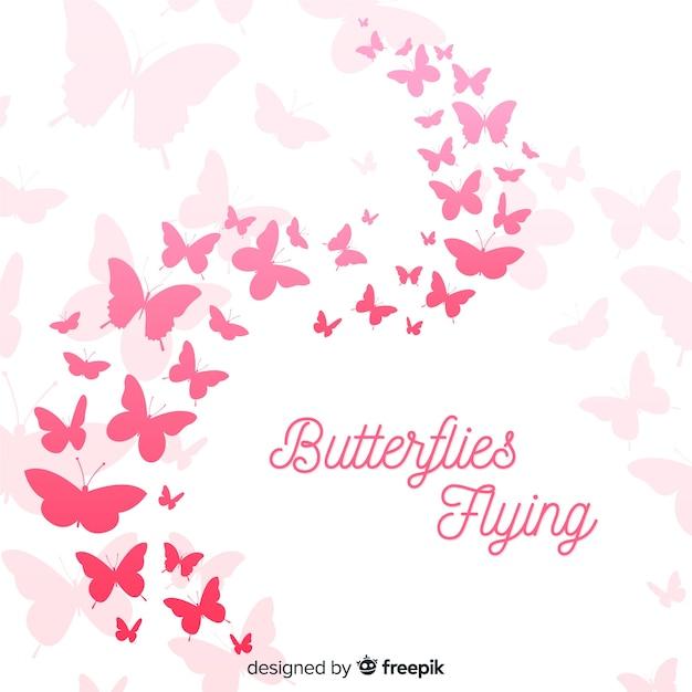 Fondo silueta de nube de mariposas vector gratuito