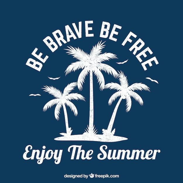 Fondo de silueta de palmeras con cita vector gratuito