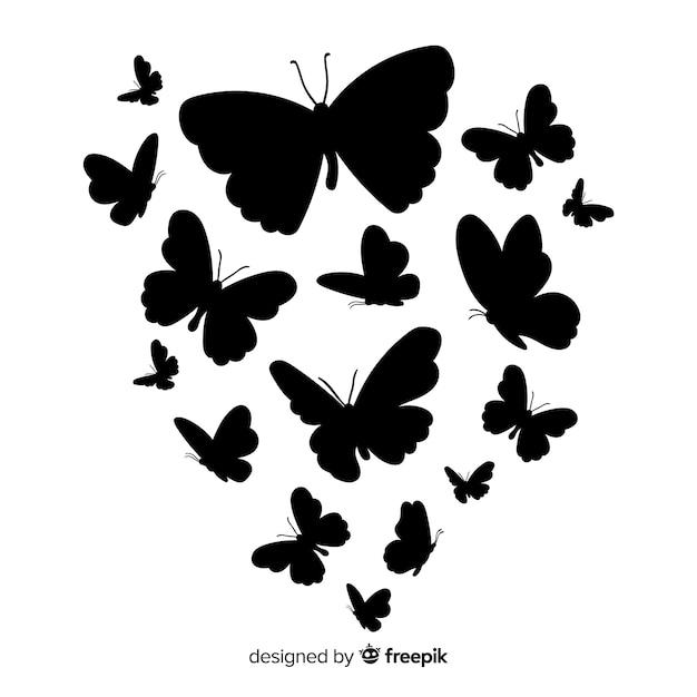 Fondo siluetas mariposas vector gratuito