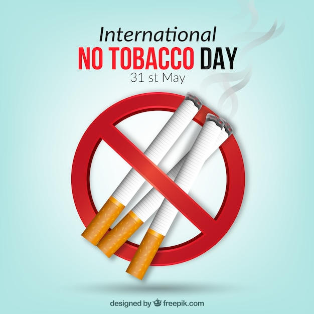 Fondo de símbolo prohibido con cigarrillos Vector Premium