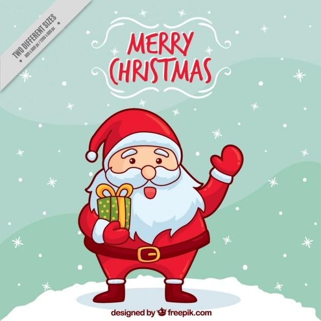 Fotos Simpaticas De Papa Noel.Fondo De Simpatico Papa Noel Saludando Dibujado A Mano