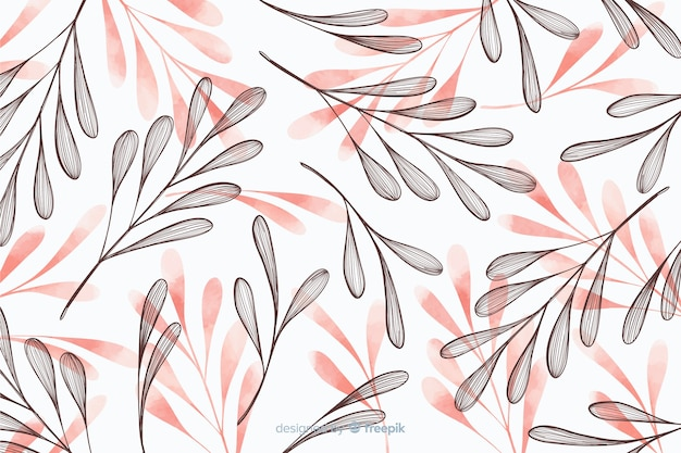 Fondo simplista con hojas dibujadas a mano vector gratuito