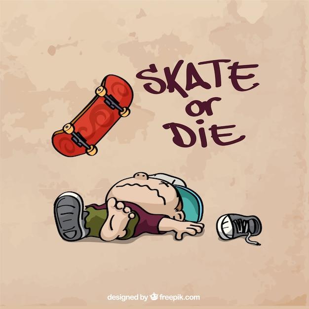 Fondo De Skate Dibujado A Mano Con Frase Vector Gratis