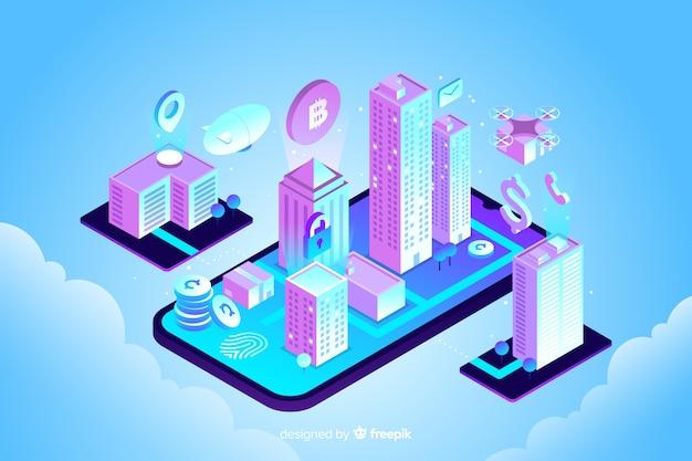 Fondo de smart city en isométrico vector gratuito