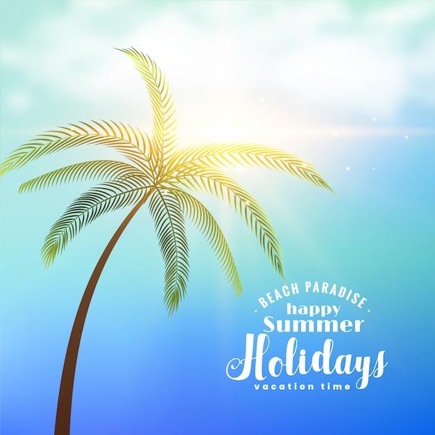 Fondo soleado de vacaciones de verano con árbol tropical vector gratuito