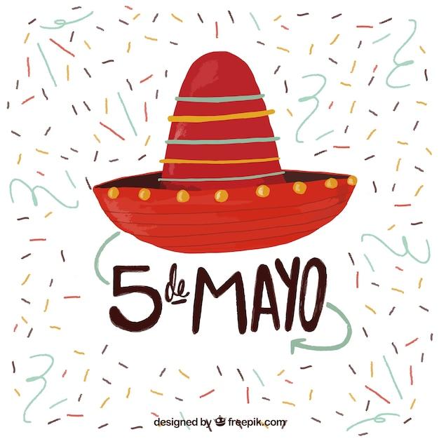 Fondo de sombrero mexicano pintado a mano con confeti  bd66f51ebd0