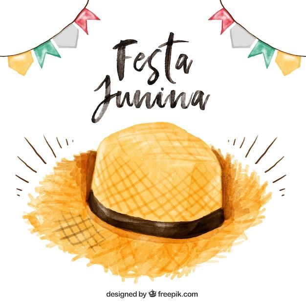 Fondo de sombrero de paja de acuarela de fiesta junina vector gratuito