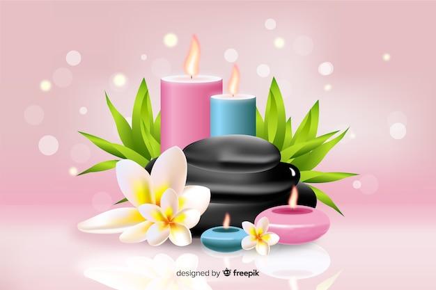 Fondo de spa realista con velas sobre fondo rosa vector gratuito