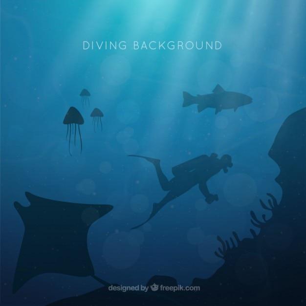 Fondo de submarinismo con siluetas vector gratuito