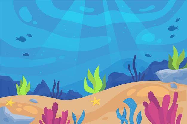 Fondo submarino con algas coloridas vector gratuito