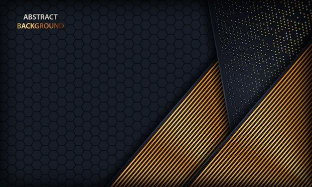 Fondo de superposición azul oscuro con líneas doradas. Vector Premium