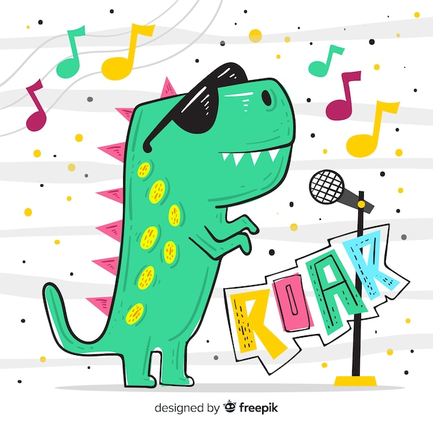 Fondo de t-rex dibujado a mano vector gratuito