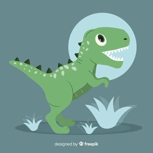 Fondo de t-rex en diseño plano vector gratuito