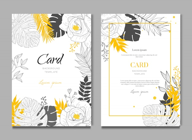 Fondo de tarjeta de boda tropical Vector Premium