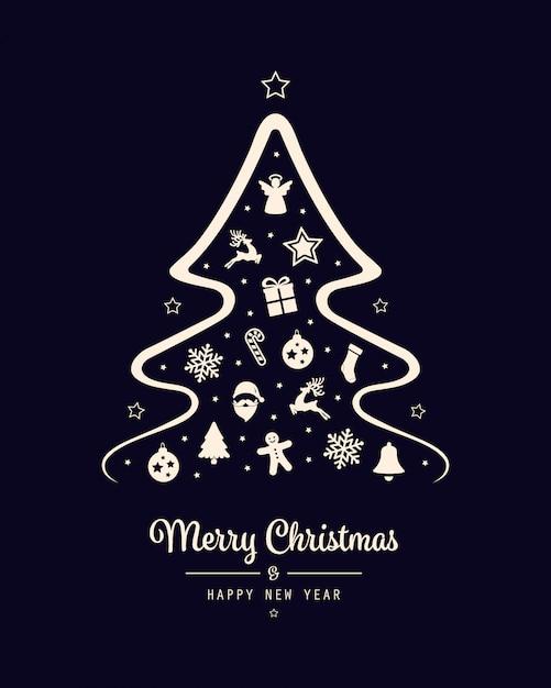 Fondo de tarjeta de elementos de icono de árbol de navidad feliz Vector Premium
