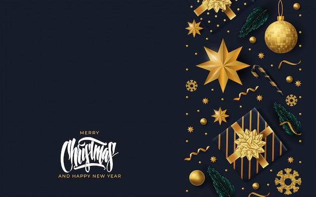 Fondo de tarjeta de felicitación de feliz navidad Vector Premium