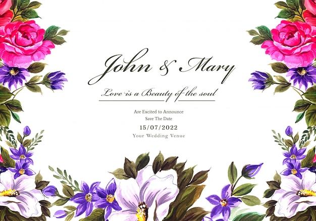 Fondo de tarjeta de marco de flores decorativas de boda vector gratuito