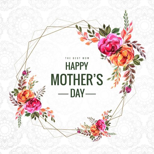 Fondo de tarjeta de marco de flores feliz día de las madres vector gratuito