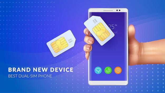Fondo de tarjeta de memoria realista con el nuevo dispositivo, la mejor ilustración del titular del teléfono dual sim vector gratuito