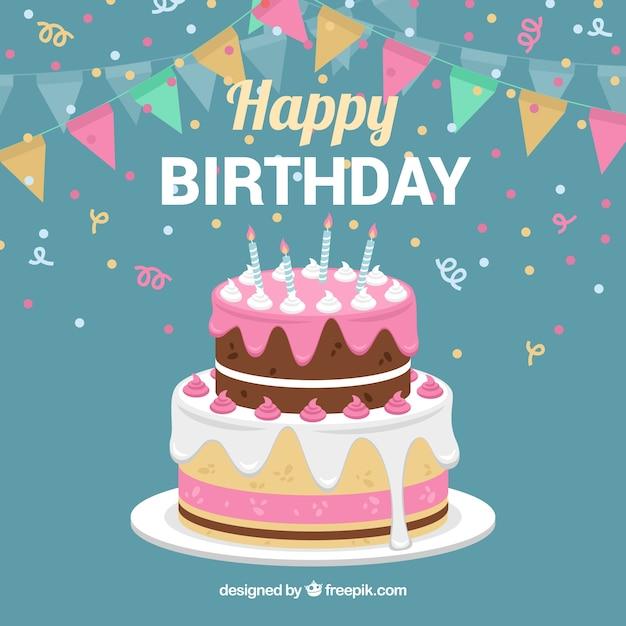Fondo de tarta de cumpleaños con guirnaldas Vector Premium