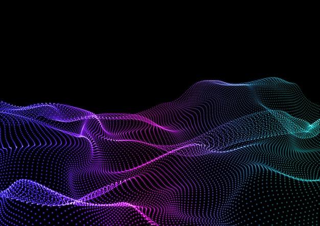 Fondo de techno abstracto con diseño de partículas que fluyen vector gratuito