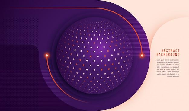 Fondo de tecnología abstracta con diseño de círculo y puntos y plantilla de texto Vector Premium