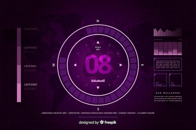 Fondo de tecnología abstracta hud púrpura vector gratuito