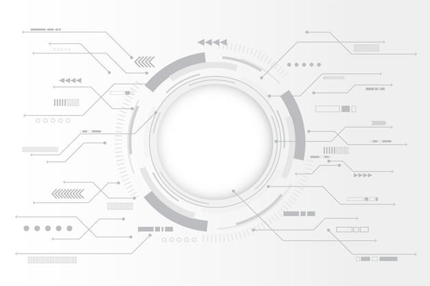 Fondo de tecnología blanca con gráfico circular vector gratuito