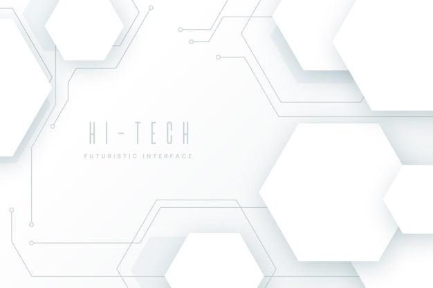 Fondo de tecnología blanca Vector Premium