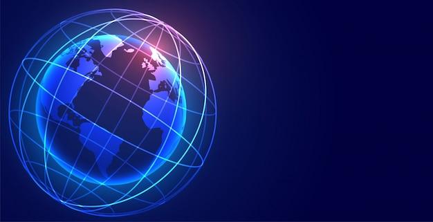Fondo de tecnología de conexión de red de tierra digital global vector gratuito