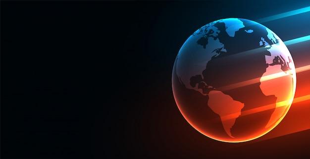 Fondo de tecnología digital futurista de la tierra con luces brillantes vector gratuito