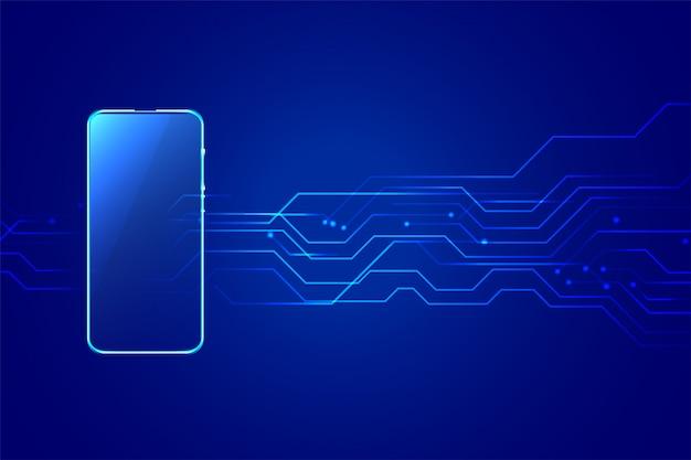 Fondo de tecnología digital móvil smartphone con diagrama de circuito vector gratuito