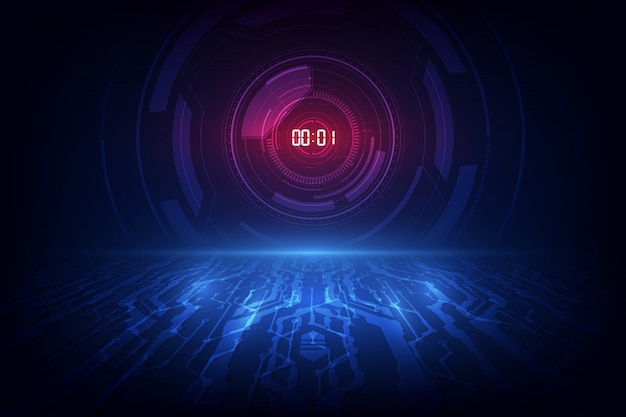 Fondo de tecnología futurista abstracto con concepto de temporizador de número digital y cuenta regresiva. Vector Premium