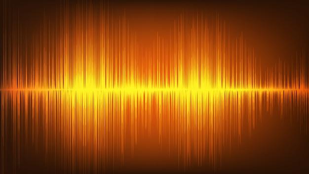 Fondo de tecnología de onda de sonido digital naranja Vector Premium