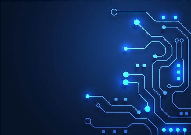 Fondo de tecnología de placa de circuito con sistema de conexión de datos digitales de alta tecnología y computadora electrónica Vector Premium