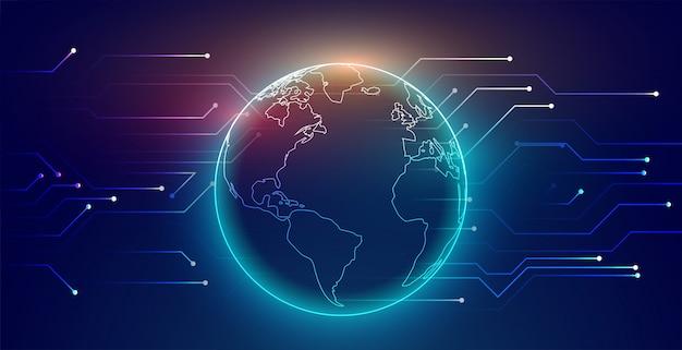 Fondo de tecnología de red de conexión global digital vector gratuito