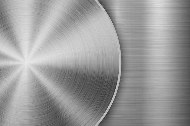 Fondo de tecnología con textura circular de metal cepillado Vector Premium