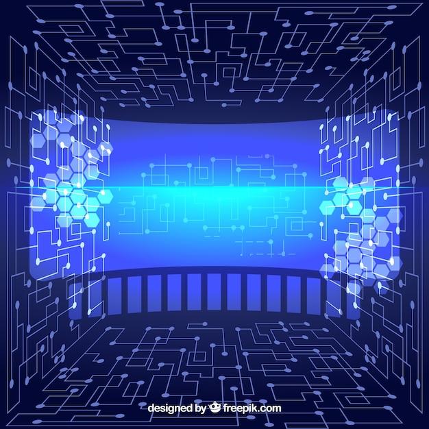 Fondo tecnológico abstracto virtual vector gratuito