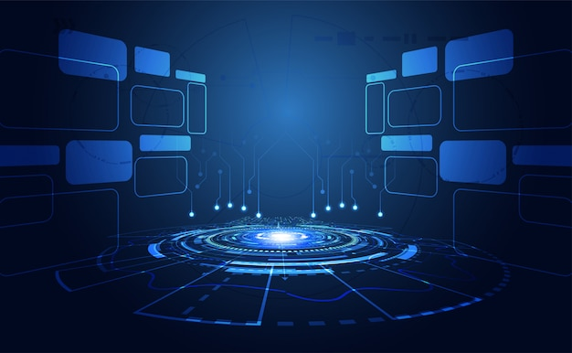 Fondo tecnológico brillante azul Vector Premium