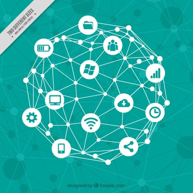Fondo tecnológico con elementos informáticos Vector Gratis