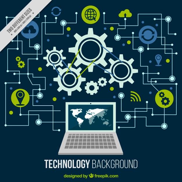 Fondo tecnológico con un ordenador y circuitos Vector Gratis