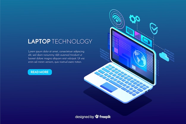 Fondo tecnológico degradado de ordenador portátil con vista isométrica vector gratuito