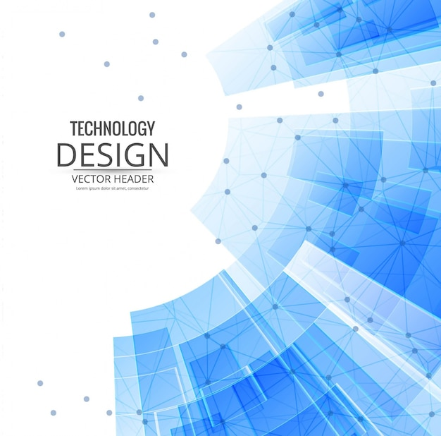 Fondo tecnológico con formas geométricas azules vector gratuito