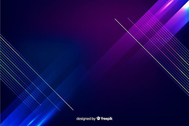 Fondo tecnológico geométrico con luces de neon vector gratuito