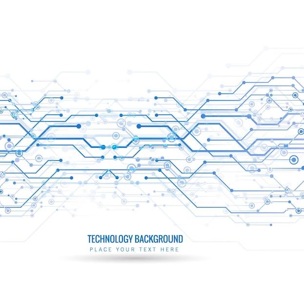 Fondo tecnológico con líneas y puntos azules vector gratuito